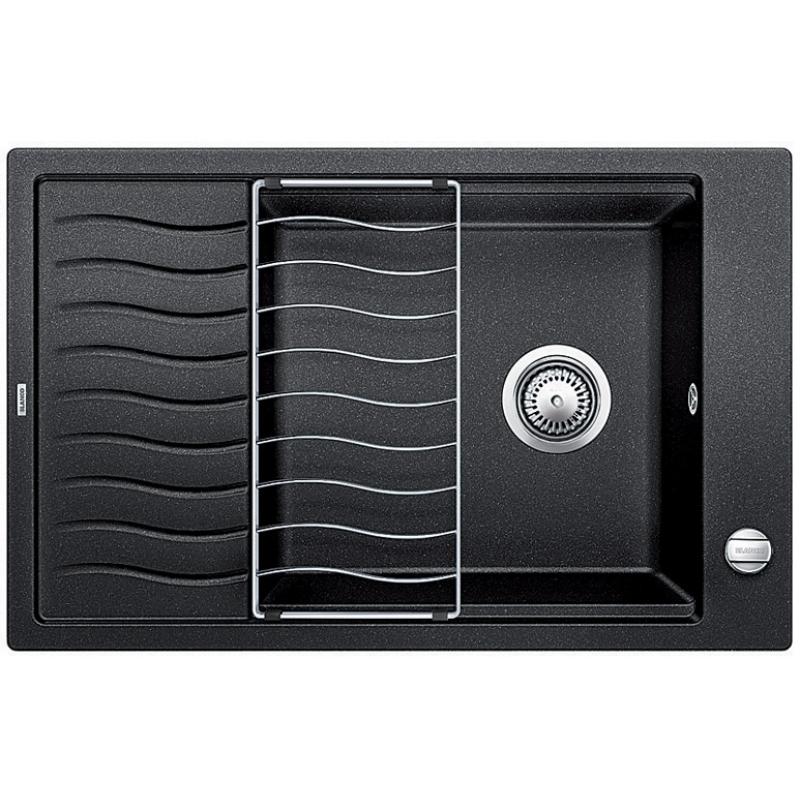 Elon XL 6S АнтрацитКухонные мойки<br>Кухонная мойка Blanco Elon XL 6S 518735.<br><br><br>Оборачиваемая кухонная мойка коллекции Elon выполнена в современном дизайне. Функциональное крыло с изящными волнообразными канавками для стока воды удобно использовать для сушки посуды. Площадка под смеситель расположена сбоку, что позволяет устанавливать мойку перед окном. Модель отлично впишется в интерьер любой кухни.<br><br><br><br>Материал Silgranit PuraDur устойчив к механическим воздействиям и высоким температурам.<br>Стойкость к загрязнению и простота в уходе.<br>Непористая структура поверхности.<br>Монтаж: встраиваемый сверху или снизу.<br>Размер чаши (ШxГ): 45 x 41 см.<br>Размер монтажного отверстия (ШxГ): 76 x 48 см.<br>Поверхность мойки обладает антибактериальными свойствами.<br>Слив-перелив.<br>Практичная решетка в комплекте.<br>Два размеченных отверстия под смеситель.<br><br><br><br>Объем поставки: чаша мойки, клапан-автомат (3.5 дюйма),  отводная арматура, решетка (229234).<br>