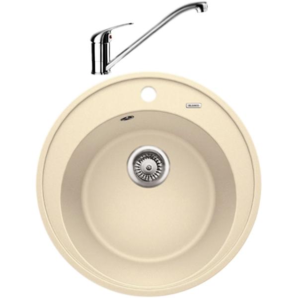 Riona 45 со смесителем Daras КофеКухонные мойки<br>Круглая кухонная мойка Blanco Riona 45 521401D2 из гранита, с вместительной чашей и удобным бортиком для смесителя и принадлежностей. Элегантное решение для кухни: функциональный дизайн со смещенными кругами, приятный цвет, эффективное использование пространства и комфортные условия. В комплекте смеситель Blanco Daras однорычажный, с поворотным изливом, с аэратором, монтируемый в одно отверстие. Вращающийся на 360 градусов излив обеспечивает увеличенный радиус действия для легкого мытья и наполнения кастрюль.<br>Конструкция:<br><br>Кухонная мойка:<br>Цвет: кофе Silgranit.<br>Экологически чистые и безопасные материалы.<br>Идеальный материал для кухни Silgranit: 80 процентов гранитной крошки.<br>Покрытие PuraDurII: защита от грязи и налета.<br>Приятная на ощупь и прочная поверхность: подобие отшлифованного камня.<br>Легкость в очистке, устойчивость к царапинам, ударопрочность.<br>Стойкость бытовым кислотам и выцветанию: 100 процентов.<br>Устойчивость к температурам: до 280 градусов.<br>Монтаж: встраиваемый сверху на тумбу шириной от 45 см.<br>Рекомендации по монтажу: учитывать ширину пристенного канта.<br>Смеситель:<br>Цвет: кофе Silgranit. Материал корпуса: латунь.<br>Поворотный излив: 360 градусов, L 22,7 см., H 18 см.<br>Аэратор: запатентованный рассекатель, защита от отложения налета.<br>Механизм: дисковый керамический картридж. Управление: рычажное.<br>Стабилизирующая пластина: увеличение устойчивости.<br>Подводка: гибкая, G 3/8, L 45 см.<br>Монтаж: на одно отверстие, D 3,5 см. Легкость и надежность в установке.<br><br>В комплекте поставки:<br><br>чаша мойки Riona 45;<br>одно готовое и одно размеченное отверстия для смесителя или аксессуаров;<br>переливное отверстие;<br>отводная арматура с корзинчатым вентилем 3 1/2.<br>смеситель Daras; гибкая подводка; комплект креплений.<br><br>