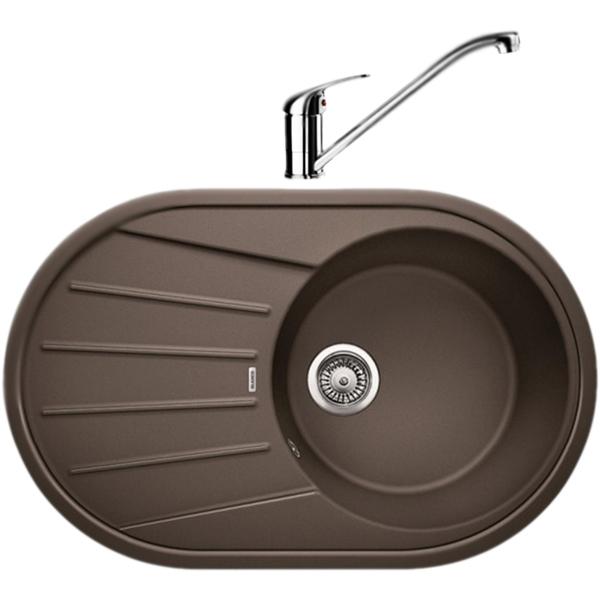 Tamos 45S со смесителем Daras ШампаньКухонные мойки<br>Оборачиваемая кухонная мойка Blanco Tamos 45S 521394D2 из гранита, с вместительной круглой чашей и просторным крылом с рельефным рисунком. Элегантное решение для кухни: функциональный дизайн, приятный цвет, эффективное использование пространства и комфортные условия. В комплекте смеситель Blanco Daras однорычажный, с поворотным изливом, с аэратором, монтируемый в одно отверстие. Вращающийся на 360 градусов излив обеспечивает увеличенный радиус действия для легкого мытья и наполнения кастрюль.<br>Конструкция:<br><br>Кухонная мойка:<br>Цвет: шампань Silgranit.<br>Универсальная ориентация: крыло слева или справа.<br>Экологически чистые и безопасные материалы.<br>Идеальный материал для кухни Silgranit: 80 процентов гранитной крошки.<br>Покрытие PuraDurII: защита от грязи и налета.<br>Приятная на ощупь и прочная поверхность: подобие отшлифованного камня.<br>Легкость в очистке, устойчивость к царапинам, ударопрочность.<br>Стойкость бытовым кислотам и выцветанию: 100 процентов.<br>Устойчивость к температурам: до 280 градусов.<br>Монтаж: встраиваемый сверху на тумбу шириной от 45 см.<br>Рекомендации по монтажу: учитывать ширину пристенного канта.<br>Смеситель:<br>Цвет: шампань Silgranit. Материал корпуса: латунь.<br>Поворотный излив: 360 градусов, L 22,7 см., H 18 см.<br>Аэратор: запатентованный рассекатель, защита от отложения налета.<br>Механизм: дисковый керамический картридж. Управление: рычажное.<br>Стабилизирующая пластина: увеличение устойчивости.<br>Подводка: гибкая, G 3/8, L 45 см.<br>Монтаж: на одно отверстие, D 3,5 см. Легкость и надежность в установке.<br><br>В комплекте поставки:<br><br>чаша мойки Tamos 45S;<br>два размеченных отверстия для смесителя или аксессуаров;<br>переливное отверстие;<br>отводная арматура с корзинчатым вентилем 3 1/2.<br>смеситель Daras; гибкая подводка; комплект креплений.<br><br>