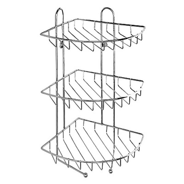110WC30M44 ХромАксессуары для ванной<br>Угловая трехъярусная полка решетка в ванную комнату Milardo 110WC30M44 с двумя крючками.<br>Функциональная полка выполнена в лаконичном современном стиле. Станет изящным дополнением любой ванной комнаты за счет плавных линий и закругленных углов элементов конструкции.<br>Полка выполнена из качественной проволочной стали толщиной до 5 мм со стойким никель-хромовым покрытием, что наделяет изделие антикоррозийными свойствами и позволяет сохранить зеркальный глянцевый блеск в течение всего срока эксплуатации. Очень практичная и надежная конструкция позволяет с комфортом разместить принадлежности для ванной и туалета.<br>Монтаж подвесной. Осуществляется с помощью специальных проушин на корпусе или монтажных крючков из пластика, которые не подвержены коррозии и легко позволяют снять полку во время уборки. Монтажные крючки монтируются с помощью шурупов.<br>Габариты (ШхДхВ): 22,5 х 22,5 х 43,4 см.<br>В комплекте поставки: полка, крепеж.<br>