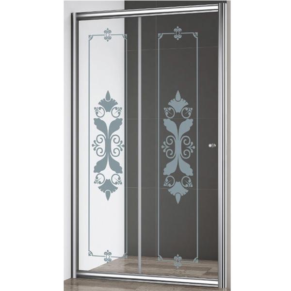 Giubileo BF 120 профиль Хром стекло прозрачное с матовым принтомДушевые ограждения<br>Душевая дверь Cezares Giubileo BF 120 профиль Хром (GIUBILEO-BF-1-120-CP-Cr).<br>Конструкция с одной раздвижной дверцей и универсальной ориентацией станет прекрасным дополнением любой ванной комнаты. Превосходно будет сочетаться в интерьере современного стиля.<br><br>Форма конструкции: прямоугольная.<br>Полотно двери изготовлено из прозрачного закаленного и безопасного стекла толщиной 6 мм с нанесением матового принта.<br>Профиль выполнен из анодированного алюминия с хромированным покрытием, что является отличным способом противостоять ржавчине.<br>Дверь герметично закрывается за счет магнитного уплотнителя и крепится с помощью двойных подшипниковых роликов повышенной надежности, выполненных в металлическом корпусе, что гарантирует исправную работу в течении всего срока эксплуатации.<br>Габариты (ШхВ): 120 х 195 cм.<br>Ширина входного проема: 49 см.<br>Профиль регулируется по ширине: +- 3 см (117,5 - 120,5 см).<br>Монтаж осуществляется в нишу или душевой уголок с установкой на поддон или на пол, оборудованный для душа.<br><br>В комплекте поставки: душевая дверь, крепежные элементы, инструкция.<br>