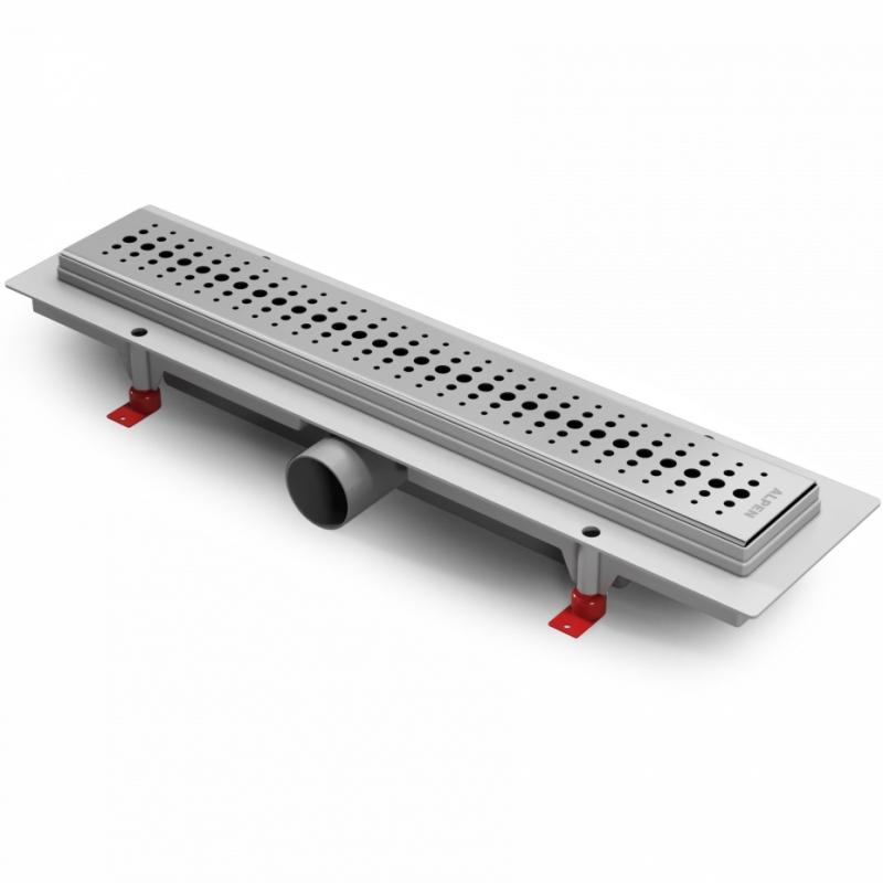 Basic 75 CH-750B1 ХромДушевые трапы и лотки<br>Душевой лоток Alpen Basic 75 CH-750B1 хром.<br>Длина 75 см.<br>Материал: нержавеющая сталь.<br>Регулировка высоты от 6,5 до 8,7 см.<br>Максимальная пропускная способность 43 л/мин.<br>В комплекте поставки:<br><br><br>опоры<br>решетка<br>сифон<br>фланец<br><br><br>