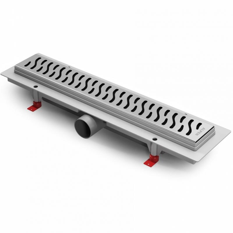 Harmony 85 CH-850H глянец ХромДушевые трапы и лотки<br>Душевой лоток Alpen Harmony 85 CH-850H глянецвый. Цвет: хром.<br>Длина 85 см.<br>Материал: нержавеющая сталь.<br>Регулировка высоты от 6,5 до 8,7 см.<br>Максимальная пропускная способность 43 л/мин.<br>В комплекте поставки:<br><br><br>опоры<br>решетка<br>сифон<br>фланец<br><br><br>
