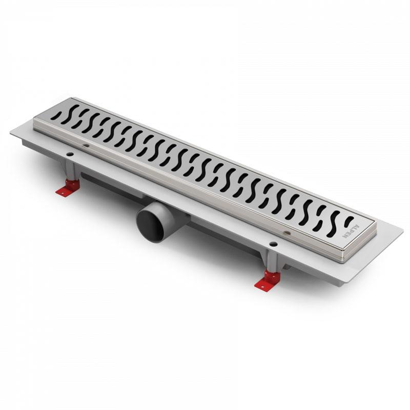 Harmony 75 CH-750HN1 с рамкойДушевые трапы и лотки<br>Душевой лоток Alpen Harmony CH-750HN1 длиной 75 см с декоративной решеткой.<br>Простая конструкция лотка из качественных материалов позволяет не думать о протечках и неприятном запахе, легко обслуживается и стильно смотрится благодаря интегрированной установке в пол.<br><br>Конструкция:<br>Нижняя часть выполнена из качественного пластика.<br>Декоративная решетка и рамка изготовлены из нержавеющей стали марки DIN 1.4301 с толщиной стали 1,5 мм.<br>Цвет: матовый хром.<br>Высота монтажа: +/- 2,2 см (6,5 - 8,7 см).<br>Длина лотка: 75 см.<br>Ширина лотка: 12,4 см.<br>Диаметр слива: 4 см, выход вбок.<br>Пропускная способность: 35-40 л/мин.<br>Сифон комбинированного типа: с уровнем воды и без (сухой).<br>Выдерживает нагрузку до 300 кг.<br><br>В комплекте поставки: желоб, cифон, гидроизоляционный воротник, крепежный комплект (ножки, шурупы, дюбели), декоративная решетка, инструкция.<br>