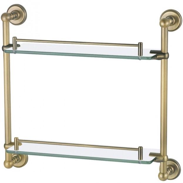 4652 ЗолотоАксессуары для ванной<br> Двойная полочка Aquanet 4652 00189289 выполнена из латуни окрашенной в золотой цвет. Латунь обеспечивает прочность и высокую устойчивость к коррозии, поэтому модели из данного материала можно использовать в помещениях с повышенной влажностью. Массивные штанги соединены между собой, а на них установлены держатели для стеклянных полочек длиной 43 см. Золотые борты играют роль ограничителей для лежащих на полочках предметов. Крепление к стене спроектировано таким образом, чтобы крепежные элементы были скрыты. <br><br> <br> Размер (ШВД): 17.8 х 8 х 8 см <br> Крепление: На стену <br><br><br>Комплект поставки: двойная полка, крепления.<br>
