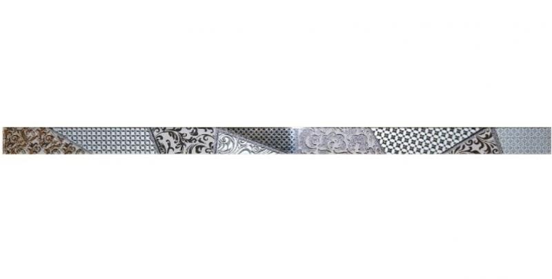 Стеклянный бордюр Ceramica Classic Студио Берген серый 3,5х60 см