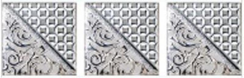 Стеклянная вставка Ceramica Classic Студио Берген Комплект серый (3шт/компл.) 4,5х17,5 см