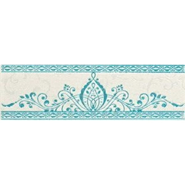 Керамический бордюр Lasselsberger Ceramics Анастасия орнамент бело-голубой 1501-0088 8,5х25 см