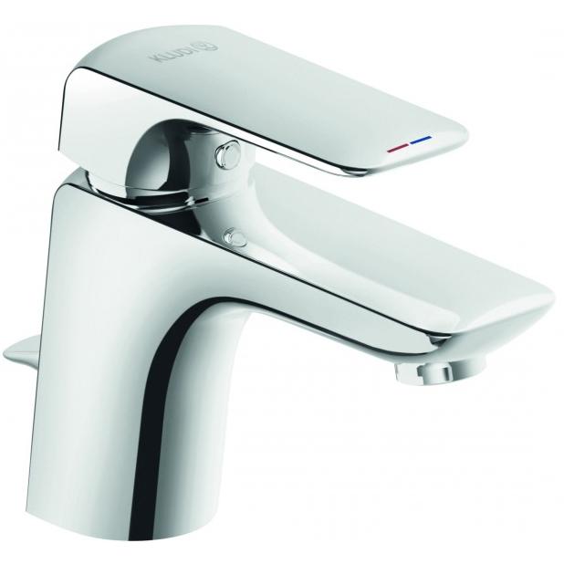 Ameo 412760575 ХромСмесители<br>Смеситель для раковины Kludi Ameo 412760575.<br><br><br>Однорычажный смеситель для раковины из коллекции Ameo будет отлично смотреться в интерьере ванной комнаты в хай-тек или современном стиле. Монтаж осуществляется на одно отверстие, для максимального комфорта использования предусмотрен донный клапан. Смеситель надежен и неприхотлив в уходе.<br><br><br><br>Расход воды: 5 л/мин.<br>Керамический картридж.<br>Каскадный аэратор M 24x1.<br>Eco-функция: экономия не менее 40% воды.<br>Совместим с безнапорными водонагревателями.<br>Регулируемый угол струи воды (наклон аэратора регулируется на 12 градусов).<br>Гибкая подводка G 3/8.<br>Донный клапан G 1 1/4.<br><br><br><br>Объем поставки: смеситель для умывальника, донный клапан, подводка.<br>