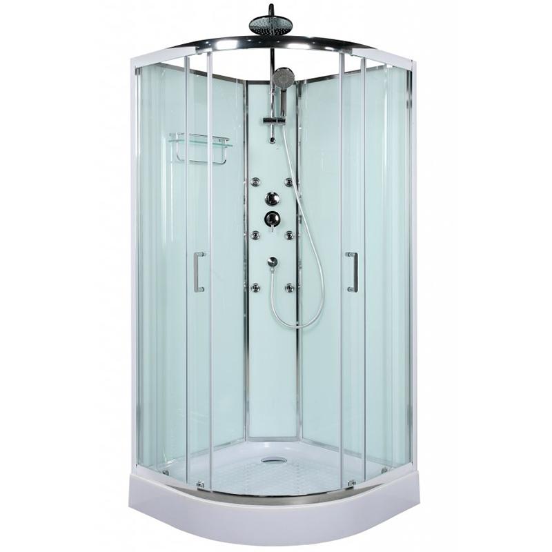Uno R-2 90x90 профиль Хром стекло ?тонированноеДушевые кабины<br>Душевая кабина BelBagno Uno R-2 90x90 c тонированным стеклом.<br>Профиль выполнен в цвете хром из преданодированного алюминия с двумя радиальными раздвижными дверьми и ручками из цинкового сплава. Данная кабина с задними стенками для монтажа в угол ванной комнаты, устанавливается на акриловый поддон высотой 15 см с сифоном идущий в комплекте.<br>Закаленное прозрачное стекло выполнено по стандарту EN12150-1:2000, что обеспечивает ему хорошую надёжность и ударопрочность. Стекло кабины имеет толщину 4 мм и 5 мм для двери.<br>Душевая панель с трёхрежимным встраиваемым термостатическим смесителем, верхним душем со стойкой, ручным душем, 6 гидромассажными форсунками и полочкой для шампуня<br><br>Характеристики:<br><br>Материал профиля: преданодированный алюминий, стандарт DIN17611 2007<br>Материал полотна двери: закаленное стекло, стандарт EN12150-1:2000<br>Регулировка ширины: предусмотрена за счет боковых профилей<br>Крепления полотна двери: двойные ролики из цинкового сплава PT01<br>Ручки из цинкового сплава PT45<br>Ширина входа 500 мм<br>6 гидромассажных форсунок<br><br><br>В комплекте поставки: <br><br>Душевая кабина<br>Акриловый поддон 15 см с сифоном<br>Душевая панель с трехпозиционным встраиваемым смесителем, верхним душем, ручным душем, 6 форсунками<br>Полочка для банных принадлежностей<br><br>