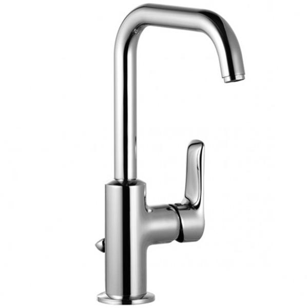 Tercio 380230575 ХромСмесители<br>Смеситель для умывальника Kludi Tercio 380230575 однорычажный выполнен из хрома и представляет собой прекрасное сочетание высочайшего качества и выгодной цены. Смеситель отлично впишется в интерьеры современной ванной комнаты, он комфортен и безопасен в эксплуатации.<br><br>Литой рычаг.<br>Излив: поворотный на 360 градусов, длиной 15,2 см.<br>Высота смесителя: 26,6 см.<br>Аэратор s-pointer M 18 x 1.<br>Керамический картридж.<br>Расход воды 5 л/мин, класс расхода воды Z.<br>Монтаж: на одно отверстие, система быстрого монтажа.<br>Подводка: гибкая, G 3/8.<br>Донный клапан G1 1/4.<br><br>В комплекте поставки:<br><br>смеситель;<br>донный клапан;<br>гибкая подводка;<br>комплект креплений.<br><br>
