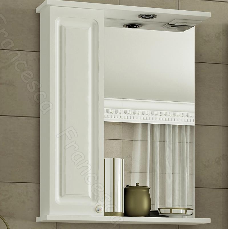 Зеркальный шкаф Francesca Империя 50 L Белый зеркальный шкаф francesca империя 65 l белый