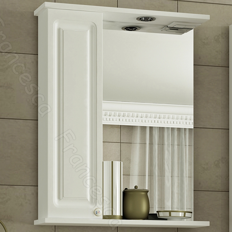 Зеркальный шкаф Francesca Империя 60 L Белый зеркальный шкаф francesca империя 65 l белый