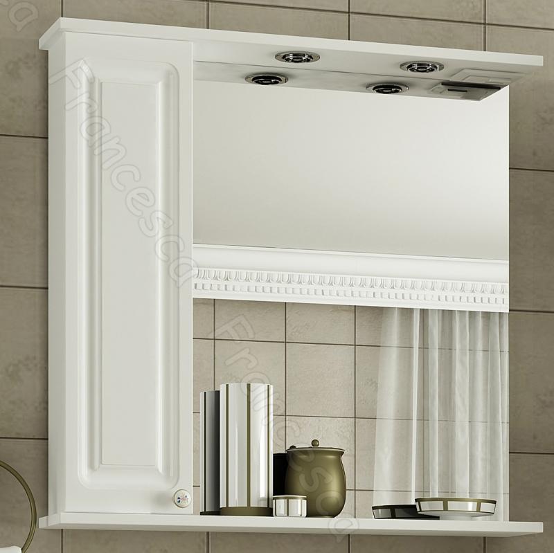 Зеркальный шкаф Francesca Империя 75 L Белый зеркальный шкаф francesca империя 75 l белый