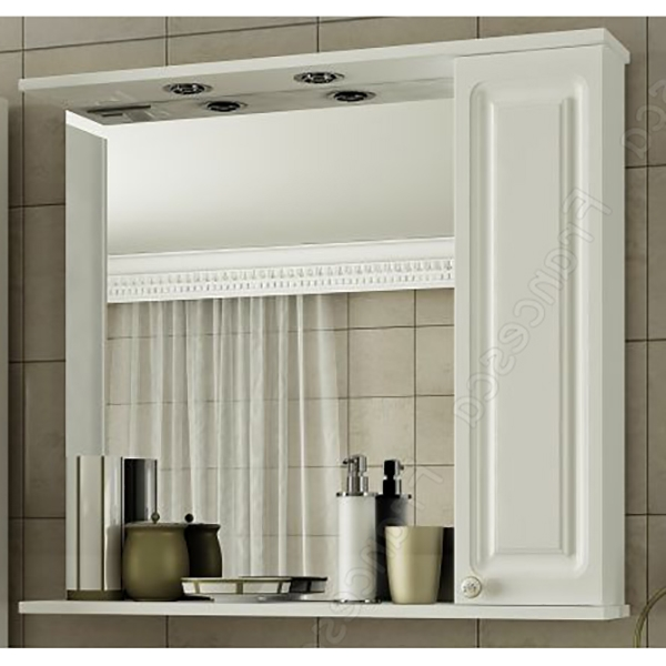 Зеркальный шкаф Francesca Империя 80 L Белый зеркальный шкаф francesca империя 75 l белый
