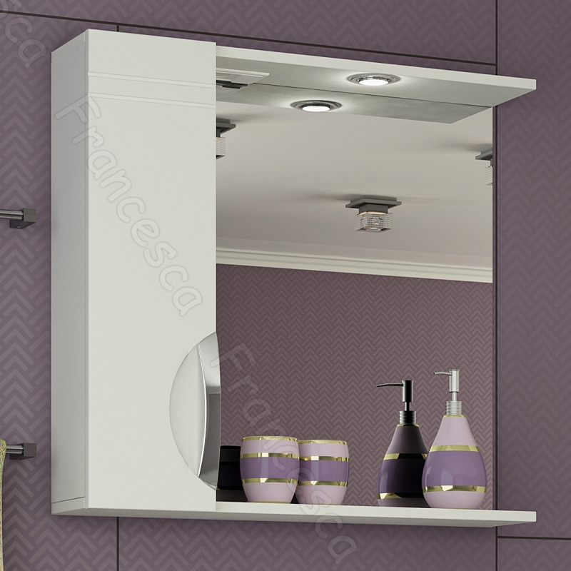 Зеркальный шкаф Francesca Доминго 75 L Белый зеркальный шкаф francesca империя 75 l белый