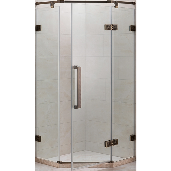 Душевой уголок Grossman Status ST-90D 90x90 профиль Розовое золото стекло прозрачное