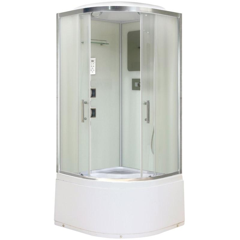 Niagara NG-1709 100x100 стекло матовое задние стенки Белые душевая кабина niagara ng 1701 01b 900х900х2200