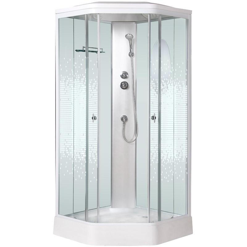 Niagara NG-2306 90x90 стекло прозрачное мозаика задние стенки Белые душевая кабина niagara ng 1701 01b 900х900х2200