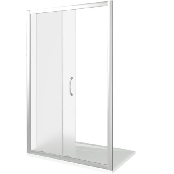 Душевая дверь в нишу Good Door Latte WTW-130 130 профиль Белый стекло Grape