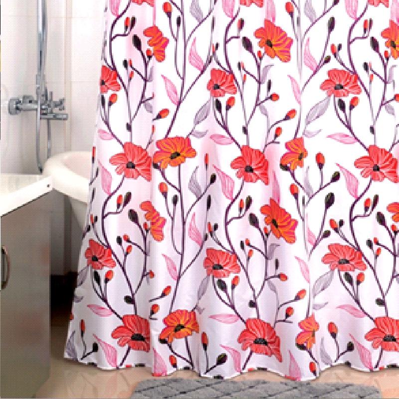 Купить Штора для ванны, Red Asters 200x180 Разноцветная, Milardo, Россия