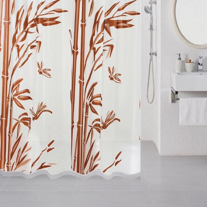 Штора для ванны Milardo Bamboo (brown) 180x180 - фото