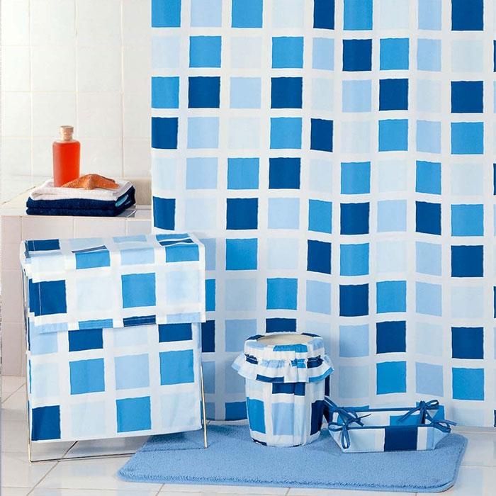 Штора для ванны Milardo Сhecked Fresco 200x180 Голубая