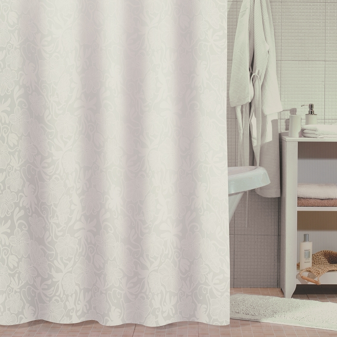 Штора для ванны Milardo White Shadows 180x180 Белая штора для ванны milardo nemesia 180x180 разноцветная