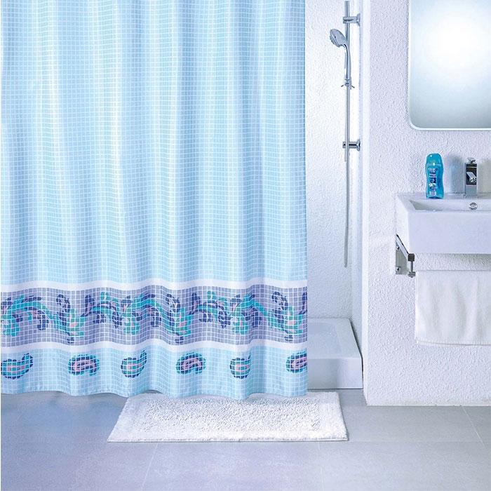 Штора для ванны Milardo Blue Fresco 200x180 Голубая