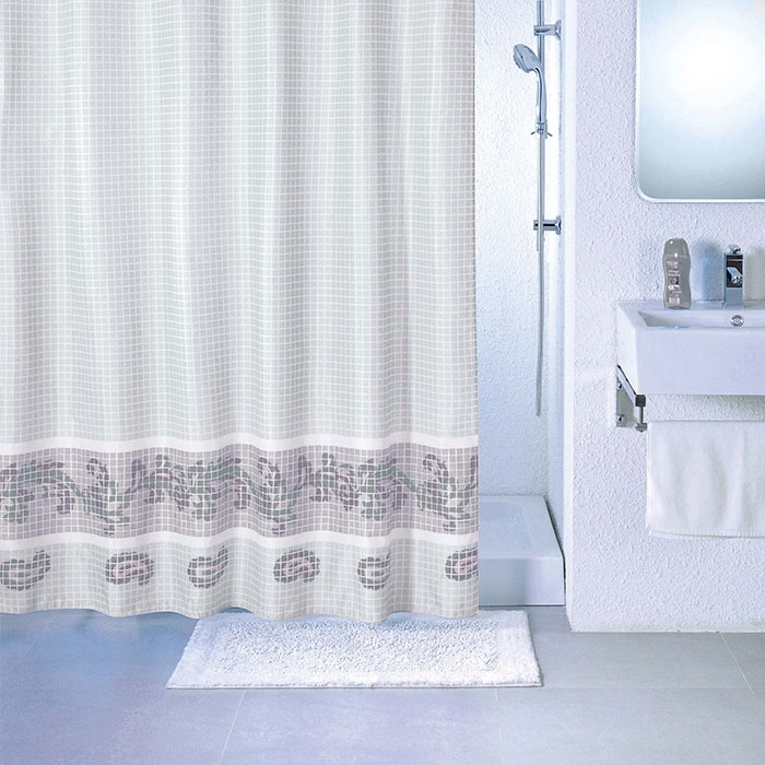 цена на Штора для ванны Milardo Grey Fresco 200x180 Серая