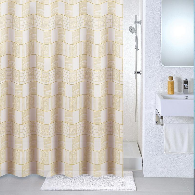 Фото - Штора для ванны Milardo Brick wall 180x180 Бежевая шторка для ванной комнаты milardo brick wall 533v180m11