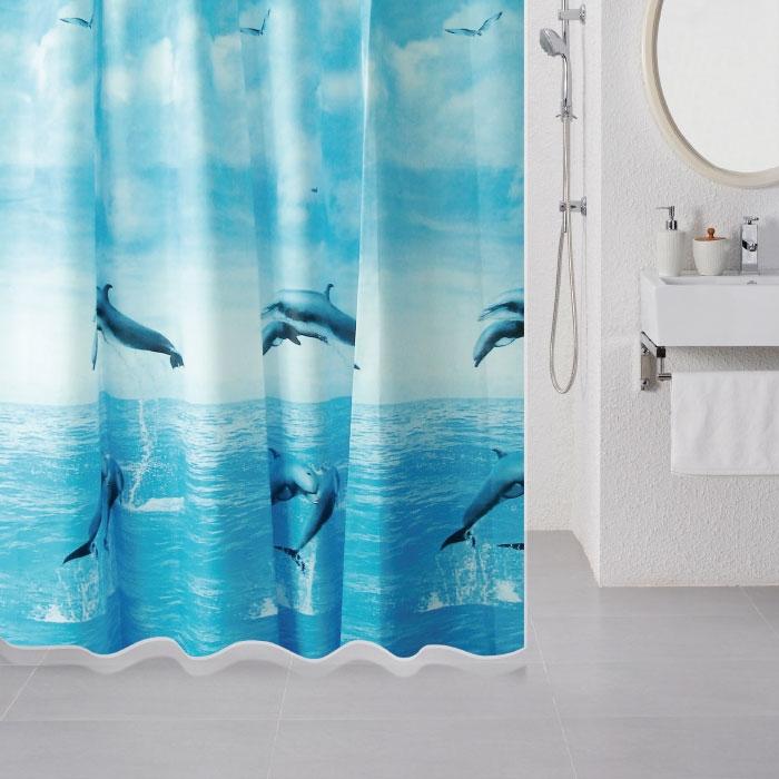 Штора для ванны Milardo Dolphins 180x180 Голубая фото