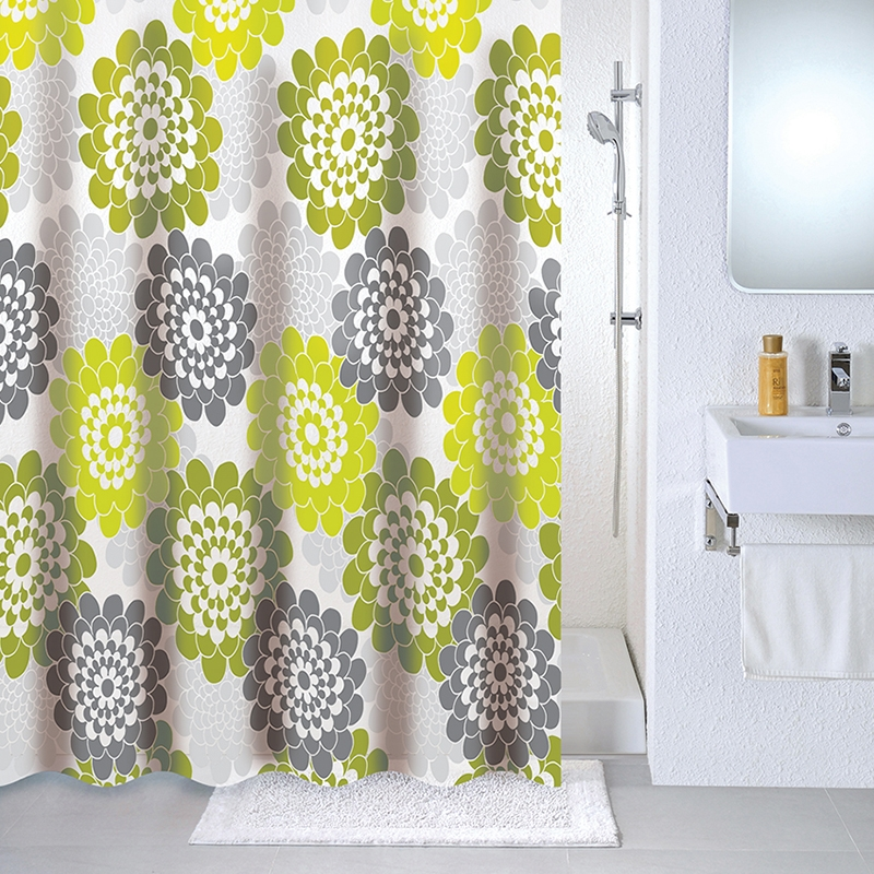 Штора для ванны Milardo Flower lane 180x180 Зеленая штора для ванны milardo bamboo green 180x180 зеленая