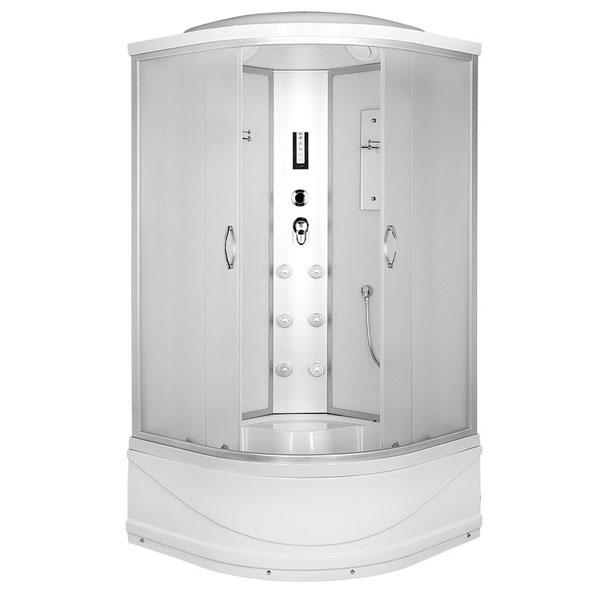 цены на Душевая кабина Erlit Comfort ER4508TP 80x80 с гидромассажем задняя стенка Белая стекло матовое в интернет-магазинах
