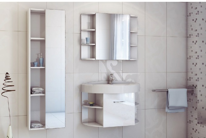 Festa 85 Белый-ПремиумМебель для ванной<br>Цена указана за тумбочку с раковиной (белый-премиум).Раковина из литьевого мрамора<br>