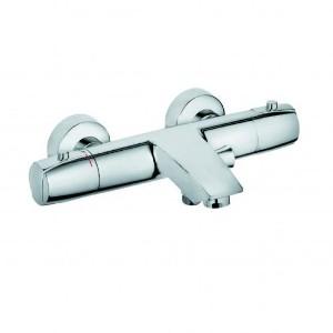 MX 354310538 ХромСмесители<br>Смеситель для ванны Kludi MX 354310538 с термостатом. В комплект входят: каскадный аэратор M 28 x 1, 50% ограничитель подачи воды, рукоятка выбора температуры с ограничителем горячей воды при 38°C, керамическая кран-букса 90°, защита от обратного тока воды, ненагревающийся корпус, фильтры очистные, отвод для душа G 1/2, автоматическое переключение душ/ванна, эксцентрики. Покрытие хром.<br>