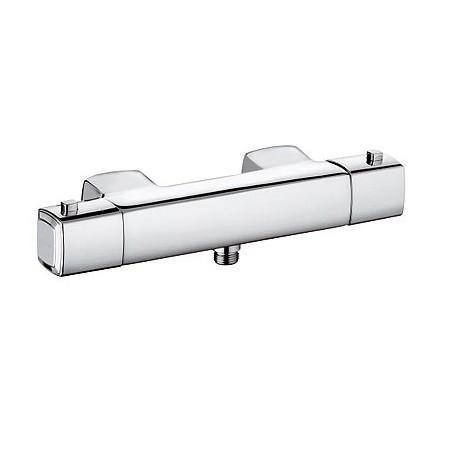Q-Beo 504000542 ХромСмесители<br>Смеситель для душа Kludi Q-Beo 504000542 без душевого гарнитура. В комплект входят: рукоятка выбора температуры с ограничителем температуры воды при 38°C, керамический кран-букса 180°, 50% ограничение расхода воды, ненагревающийся корпус, фильтры очистные, защищен от обратного тока воды, скрытые эксцентрики для настенного, монтажа отвод для душа G 1/2. Покрытие хром.<br>