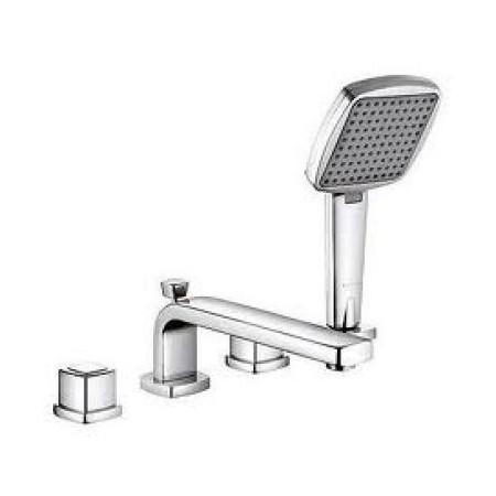 Q-Beo 504240542 ХромСмесители<br>Смеситель для ванны Kludi Q-Beo 504240542 с двумя рукоятками. В комплект входят: аэратор s-pointer М 24 х 1, керамические кран-буксы 90°, автоматическое переключение душ/ванна, ручной душ KLUDI Q-BEO, душевой шланг 1500 мм, напорный шланг 500 мм, защита от обратного тока воды, длина излива 220 мм. Покрытие хром.<br>