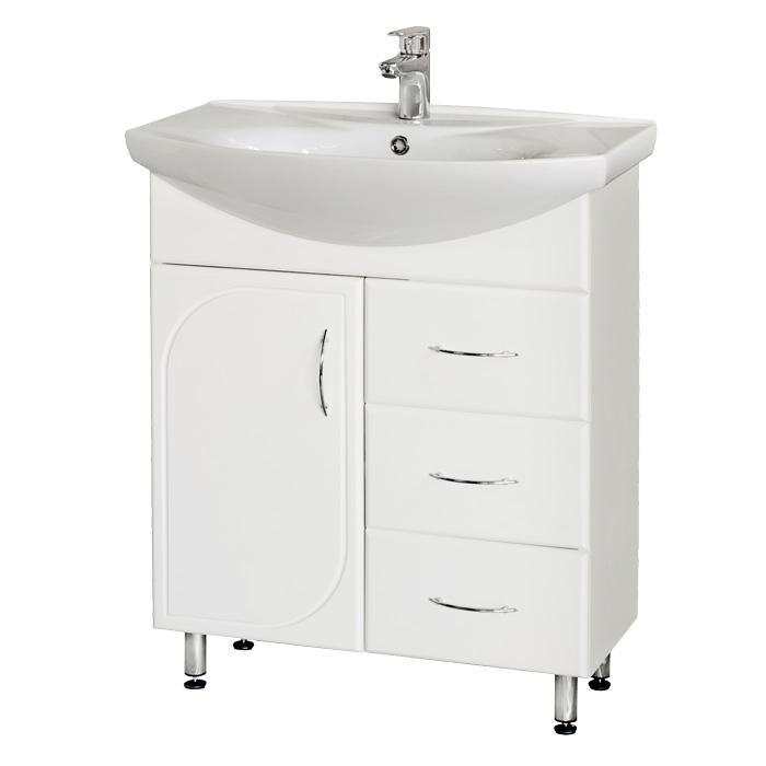 Оптима 70 БелыйМебель для ванной<br>Тумба с умывальником Аква Родос Оптима 70 напольная. Цвет  белый.<br>