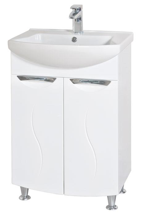 Глория 55 БелыйМебель для ванной<br>Тумба с умывальником Аква Родос Глория 55 напольная. Цвет белый.<br>