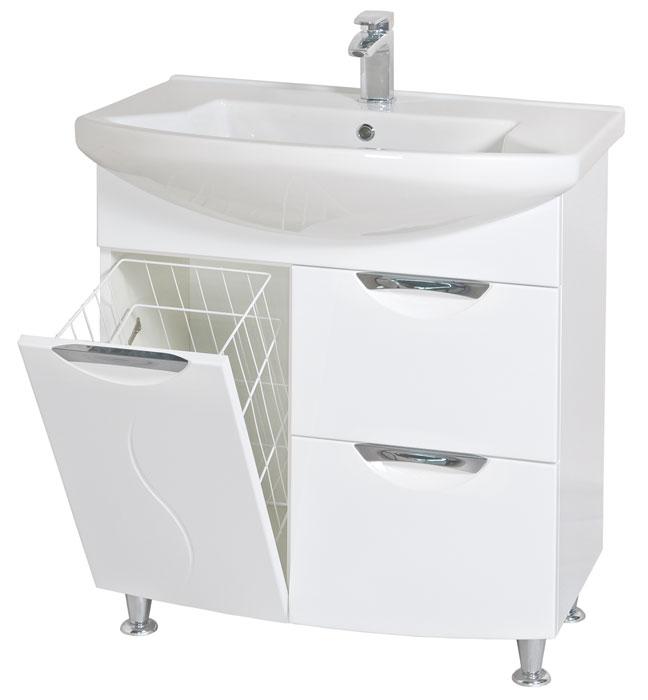 Глория 75 БелыйМебель для ванной<br>Тумба с умывальником Акво Родос Глория 75 напольная. Цвет белый.<br>
