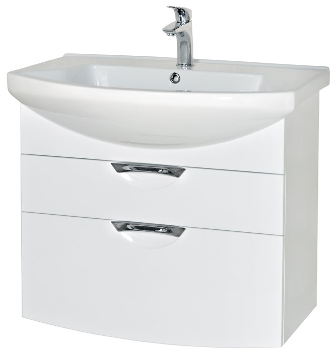 Глория 75 подвесная БелыйМебель для ванной<br>Тумба с умывальником Аква Родос Глория 75 подвесная. Цвет белый.<br>
