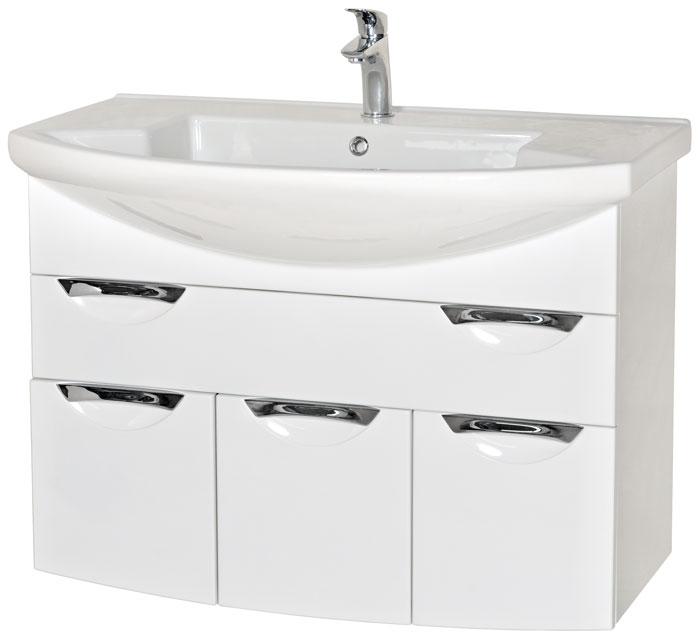 Глория 90 подвесная БелыйМебель для ванной<br>Тумба с умывальником Аква Родос Глория 90 подвесная. Цвет белый.<br>