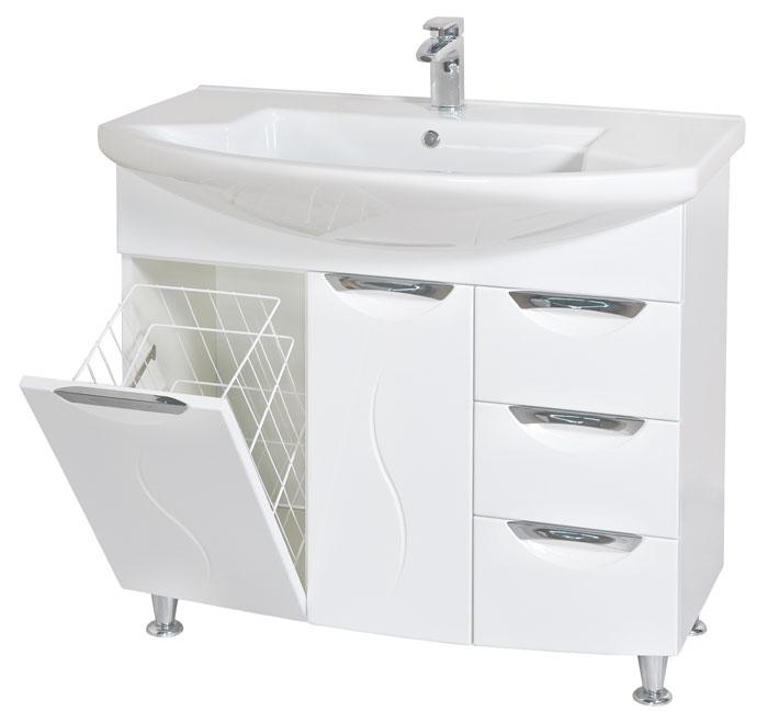 Глория 90 БелыйМебель для ванной<br>Тумба с умывальником Аква Родос Глория 90 напольная. Цвет белый.<br>