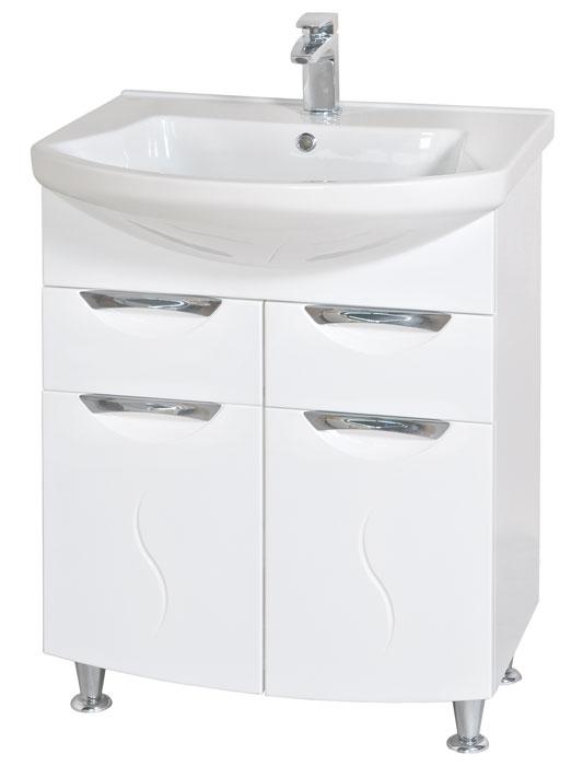 Глория 65 БелыйМебель для ванной<br>Тумба с умывальником Аква Родос Глория 65 напольная. Цвет белый.<br>