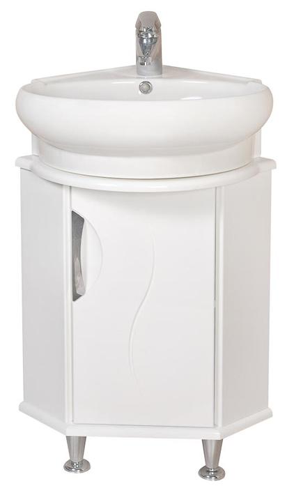 Глория 45 БелыйМебель для ванной<br>Тумба с умывальником Аква Родос Глория 45 угловая. Цвет белый.<br>