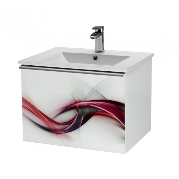 Image 60  Рисунок КамниМебель для ванной<br>Тумба подвесная IMAGE-60 под умывальник SLIM-60, мотив - Камни.<br>