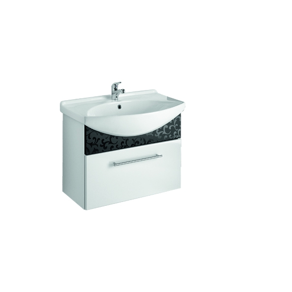 ORNAMENT 65 Черный рельефМебель для ванной<br>Тумба подвесная ORNAMENT-65 под умывальник Лагуна-65  с 1-м ящиком, черный рельеф.<br>