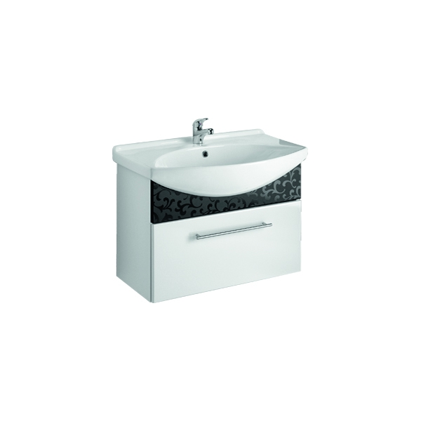ORNAMENT 75 Черный рельефМебель для ванной<br>Тумба подвесная ORNAMENT под умывальник Лагуна 75  с 1-м ящиком , черный рельеф.<br>