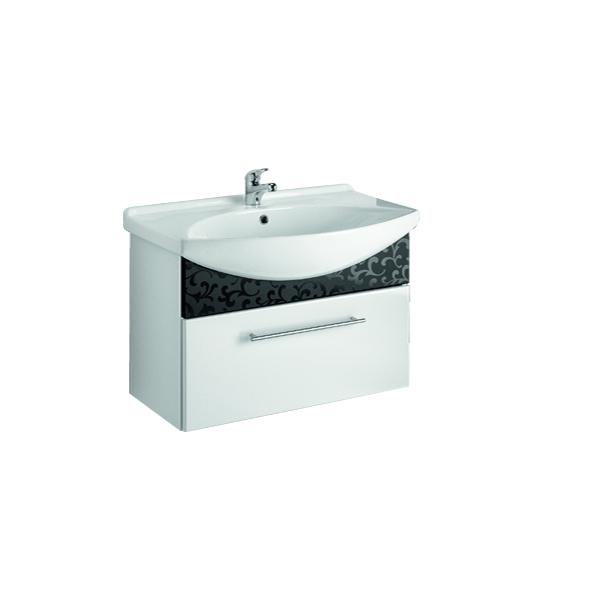 ORNAMENT 85 Черный рельефМебель для ванной<br>Тумба подвесная ORNAMENT под умывальник Лагуна 85  с 1-м ящиком, черный рельеф.<br>